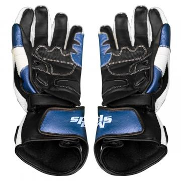 Blue and White Leather Biker Gloves