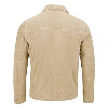Classic Suede Jacket Men with Shirt Collar