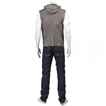 Fashion Leather Vest with Hood