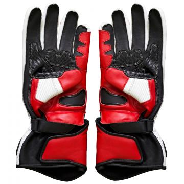 Red and White Moto Gloves Leather