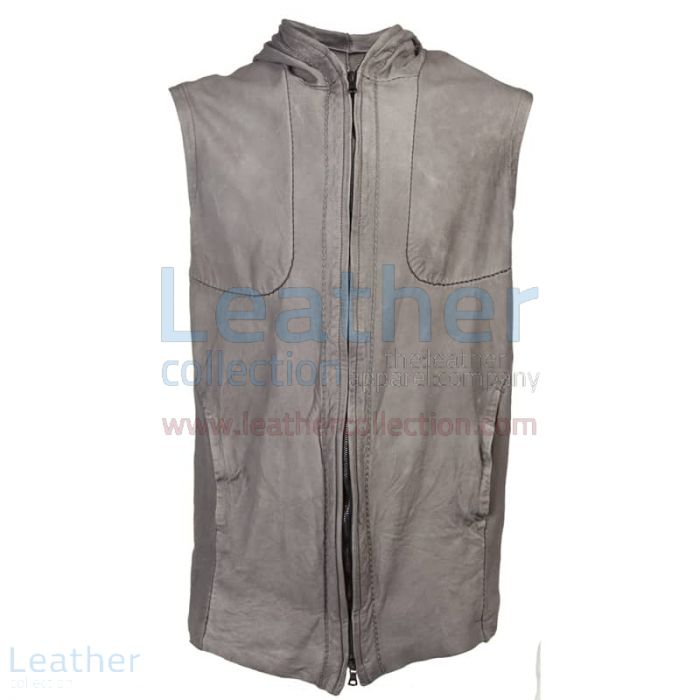 Leather Vest With Hood