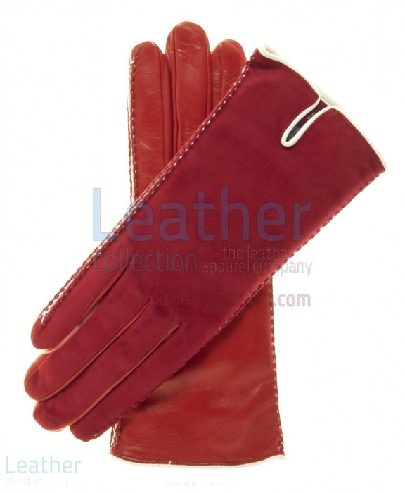 Suede Red Leather Gloves
