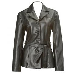 Belted Baby Doll Leather Coat front view