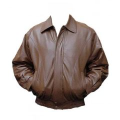 Classic Brown Bomber Leather Jacket front view