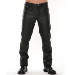 Classic Leather Jeans Black front view