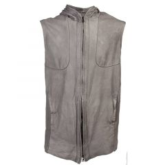 mens leather vest with hood