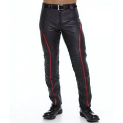 Leather Stripe Pants Front View