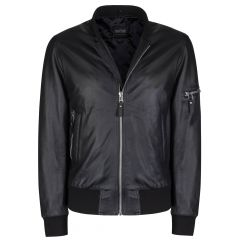 Sage Leather Bomber Jacket front view