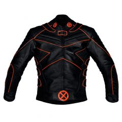 X-Men Motorbike Leather Jacket with Orange Piping front view