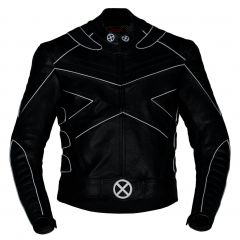 X-Men Motorbike Leather Riding Jacket with Silver Piping front view
