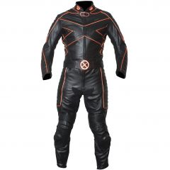 X-MEN Motorcycle Racing Leather Suit with Orange Piping front view
